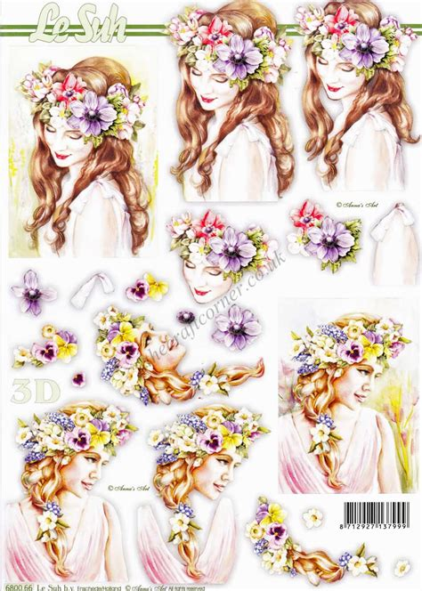 Le Suh Decoupage - with flowers in their hair die cut 3d