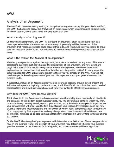 gmat analytical writing sle essays gmat awa essay guide
