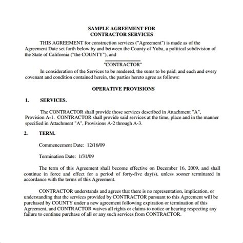 sample contract agreement templates   ms
