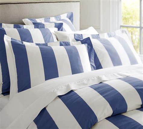 blue and white striped bedding pb classic stripe 400 thread count duvet cover sham
