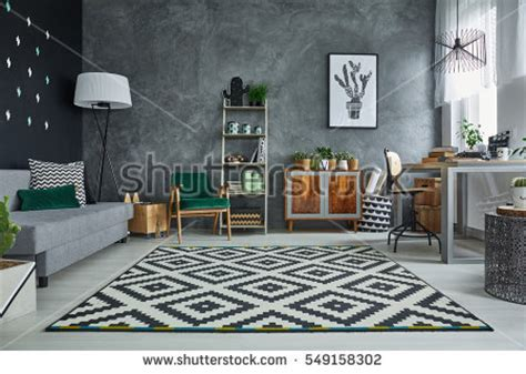Scandinavian Style Armchair Grey Room Pattern Carpet Wooden Furniture Stock Photo