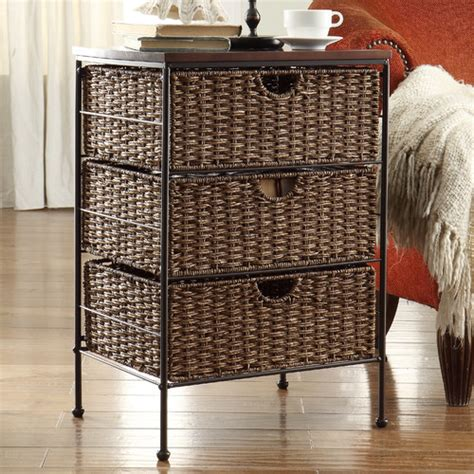 30 inch high end table with drawers wicker storage 3 drawer chest baskets organizer wood end