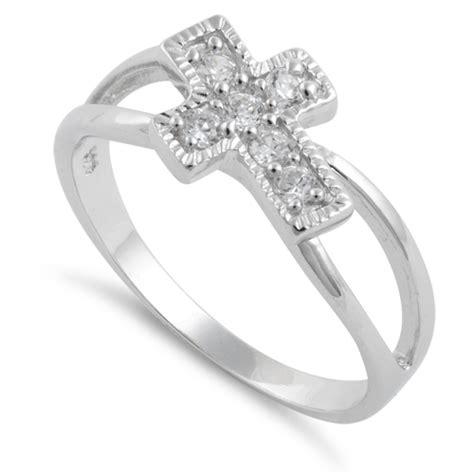 sterling silver cross cz ring