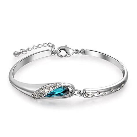 "Qianse *Glass Slipper* 7"" Bangle Bracelet Made with Blue SWAROVSKI Crystal, Women Fashion"