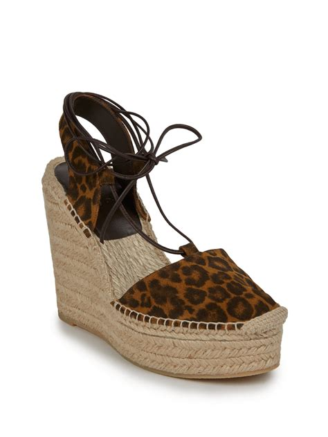 laurent leopard print suede espadrille wedge sandals