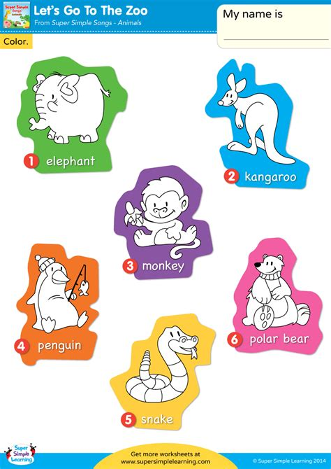 Go Go Counting Book 1 let s go to the zoo worksheet vocabulary coloring simple