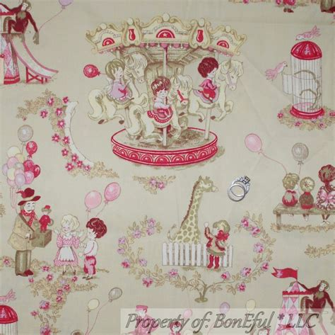 fabrics and home interiors boneful fabric fq home decor vtg cotton baby central park circus pink toile ebay
