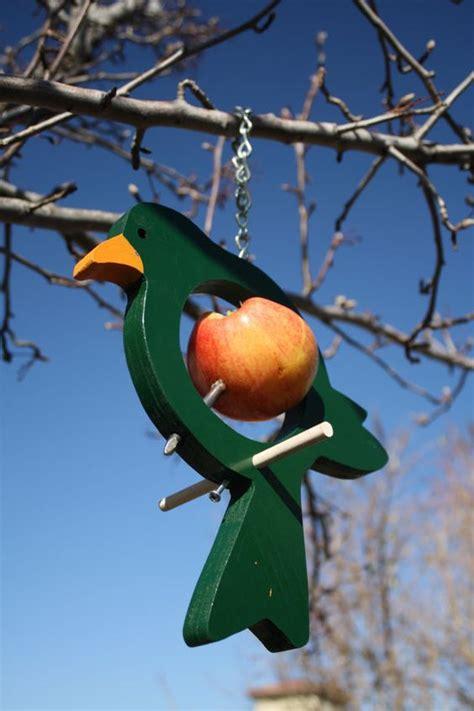 hanging bird style fruit bird feeder in green by