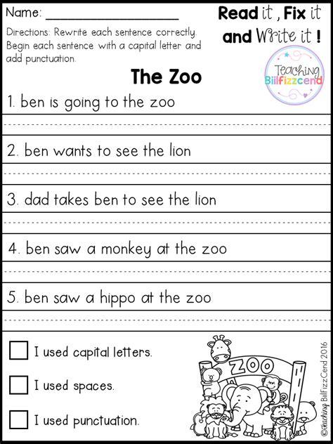 grade 1 writing sentences worksheets free fix it up sentences classroom ideas