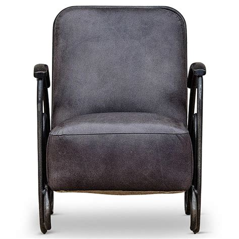 grey leather armchair brett modern industrial loft dark grey leather black iron