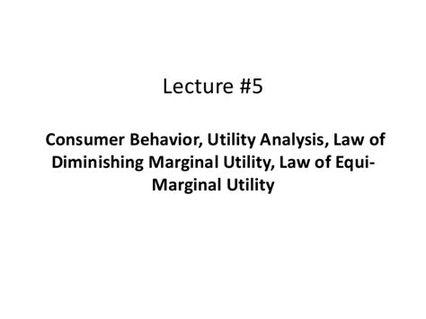 law of equi marginal utility lecture5