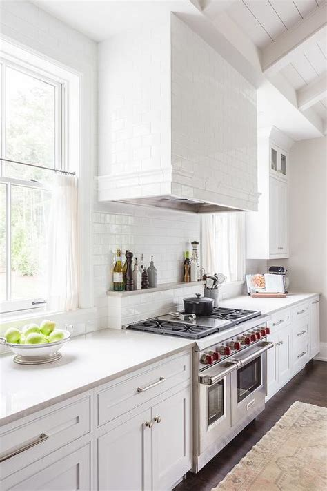 Cooktop Exhaust Fans Alyssa Rosenheck White Subway Tiled Kitchen Hood With