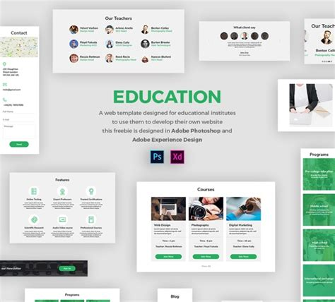 Education Web Template Free Ui Kit In Psd And Adobe Xd Freebiesui Adobe Xd Templates