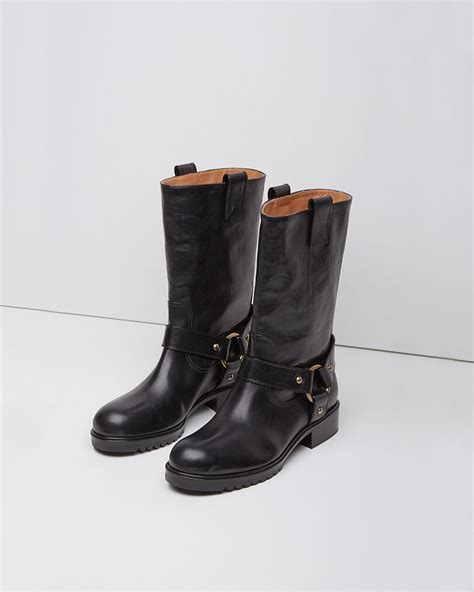 black motorcycle boots lyst marc jacobs motorcycle boot in black