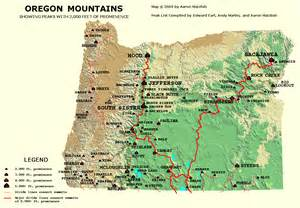 map of western oregon peaklist prominence lists and maps