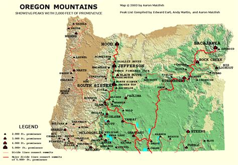 Oregon Find Image Gallery Oregon Mountains Map