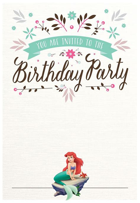Little Mermaid Free Printable Invitation Templates Invitations Online Free The Invitations Template