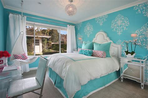 blue girls bedroom tiffany blue girl s room transitional bedroom orange