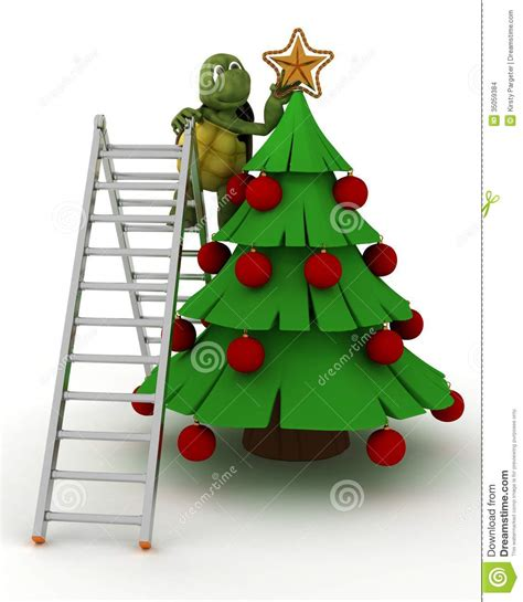 tortoise trimming a christmas tree stock illustration