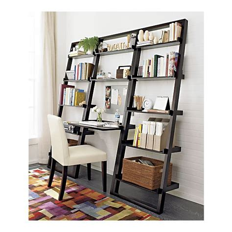 crate barrel leaning desk and bookcases are beautiful