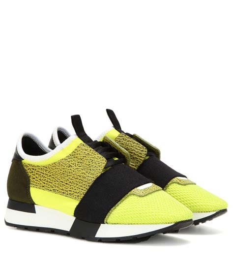 lyst balenciaga runner race sneakers in yellow