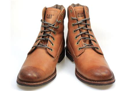 mens brown leather lace up boots caterpillar walton mens barnaby brown leather lace up