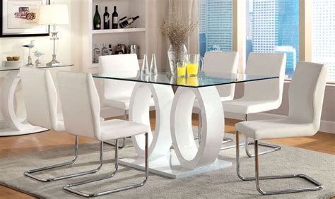 Glass Top Dining Room Set by Lodia I White Glass Top Rectangular Pedestal Dining Room