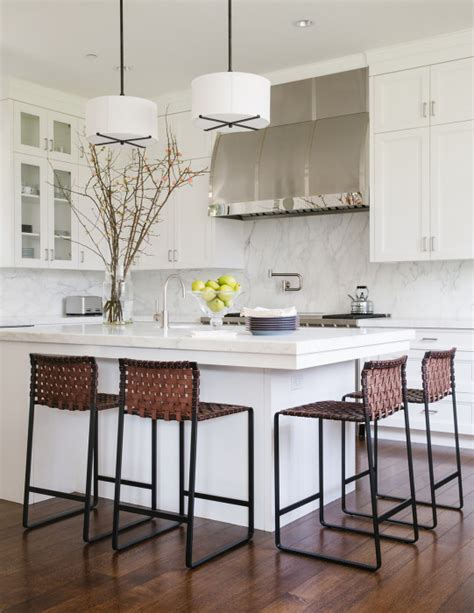 Kitchen Island Overhang For Stools by Kitchen Island With Woven Barstools Transitional Kitchen