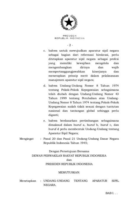 Undangundang Nomor 5 Tahun 2014 Tentang Aparatur Sipil undang undang republik indonesia nomor 5 tahun 2014