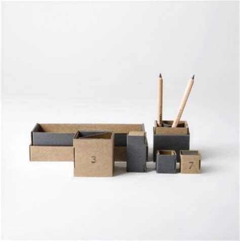 Modern Desk Supplies Cardboard Desk Tidy Gray Modern Desk Accessories By Folklore