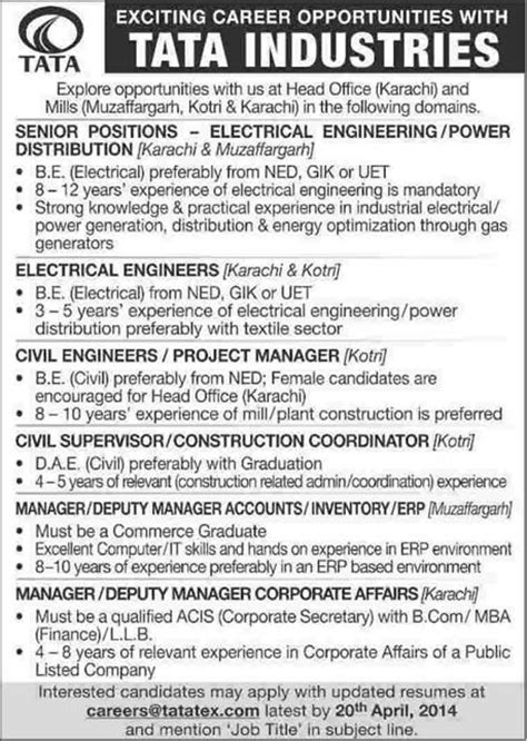 Vacancy In Tata For Mba by Tata Industries 2014 April For Electrical Civil