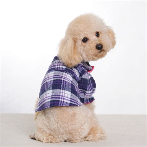 small puppy clothes small middle clothes purple grid butterfly bow pet clothes for supply clothes