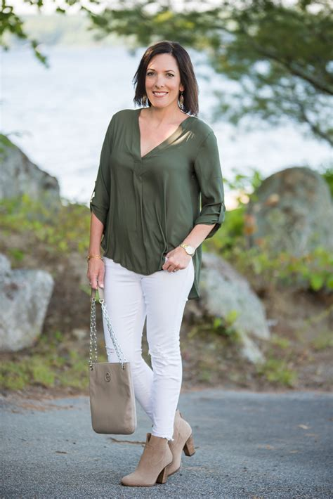 Olive Blouse Jo olive lush crepe blouse with white and booties 3