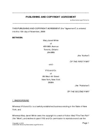 copyright contract template free free publishing and copyright agreement canada