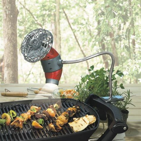 gooseneck clip on bbq grill light barbecue grill fan and light with 18 quot flexible gooseneck
