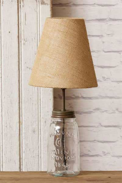 table l with clear glass shade clear jar table l with burlap shade the patch