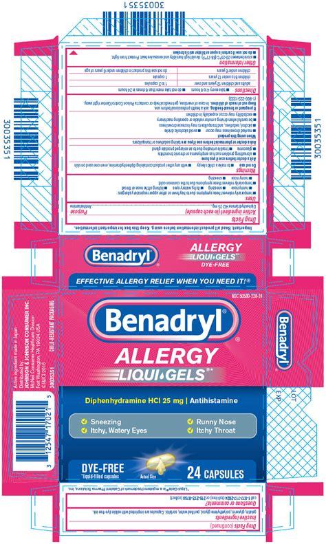 benadryl dosage benadryl allergy liqui gels johnson johnson consumer inc mcneil consumer