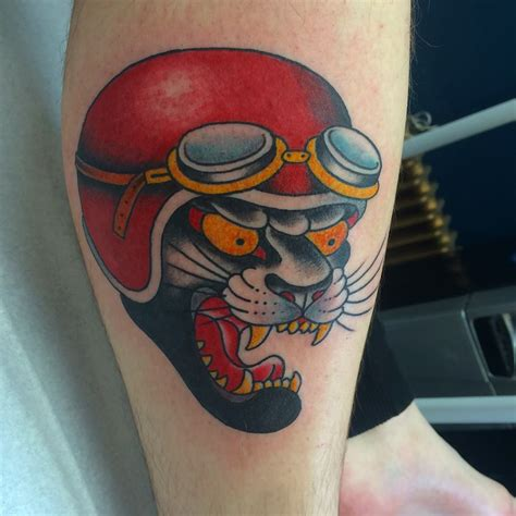 panther head tattoo traditional panther by chris garver