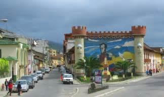 Mosaic of city founders on the city gates at loja ecuador
