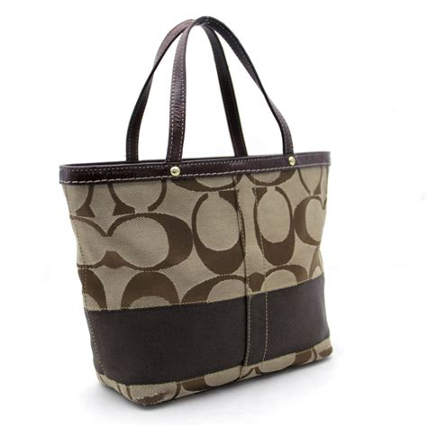 Trovata Canvas And Patent Tote by Auth Coach Signature Tote Bag Beige X Brown Canvas X