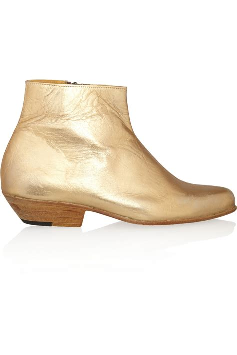esquivel jett metallic leather ankle boots in gold lyst