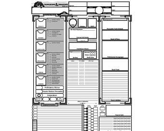 printable d d dice dnd character sheet etsy