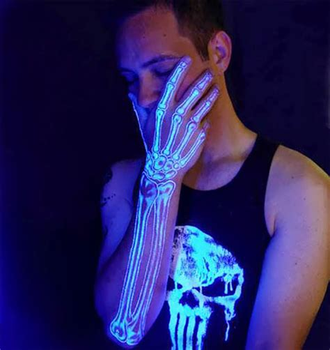 glow in the dark tattoo designs uv light awesome x skeleton golfian