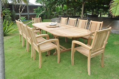 patio bench sale clearance 10 seater teak garden set large oval