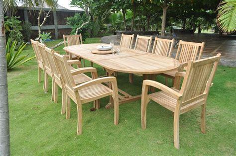 Clearance   10 Seater Teak Garden Set   Large Oval