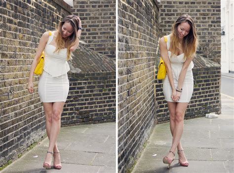 black and white dress with yellow shoes images