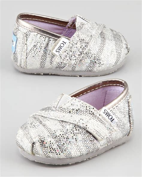 toms tiny zebra glitter slip on shoes silver