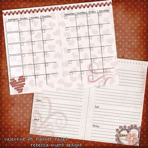 filofax planner pages printable valentine a5 filofax planner pages printable