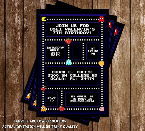 Novel Concept Designs Pac Man Birthday Party Invitation Pac Birthday Invitation Template