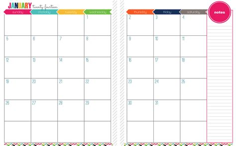 7 best images of printable month on two pages printable